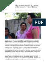 05/Enero/2018 La aplicación del INE es discriminatoria afirma Sofía Castro al presentar demanda.