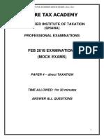 Direct Tax -MOCK Feb 2018