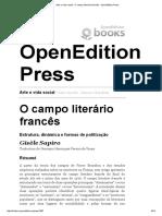 Arte e Vida Social - O Campo Literário Francês - OpenEdition Press