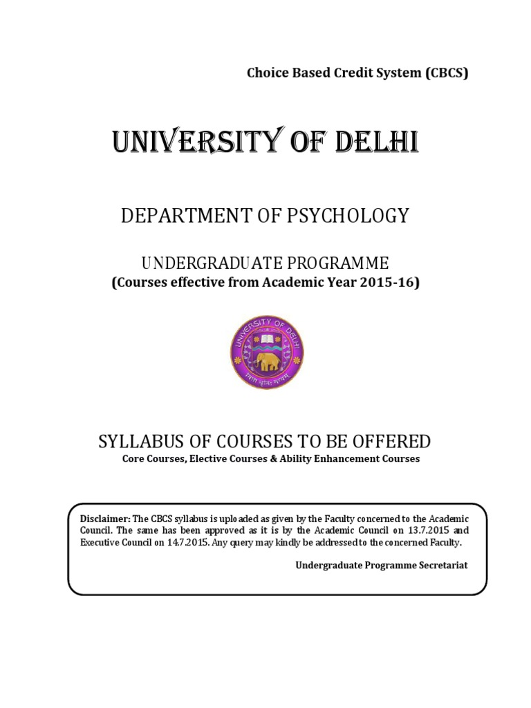 B A Hons Psychology Pdf