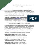 Graduate Student Matriculation Info for FS16