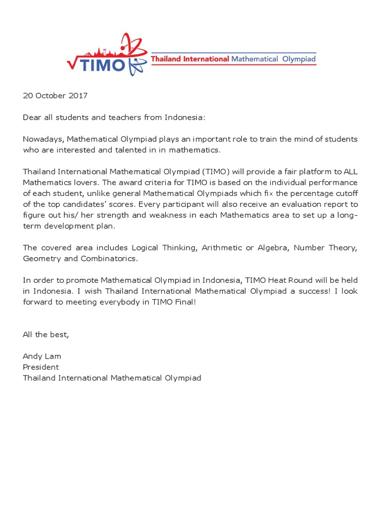 A TIMO Message From President