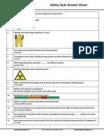 Safety Quiz Ans. Sheet