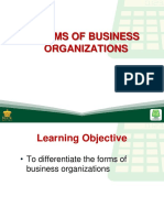 4 forms of business organizations