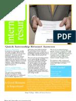 Internship Resume Instructions
