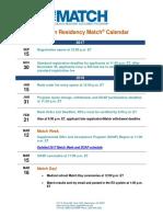 Main Residency Match Calendar