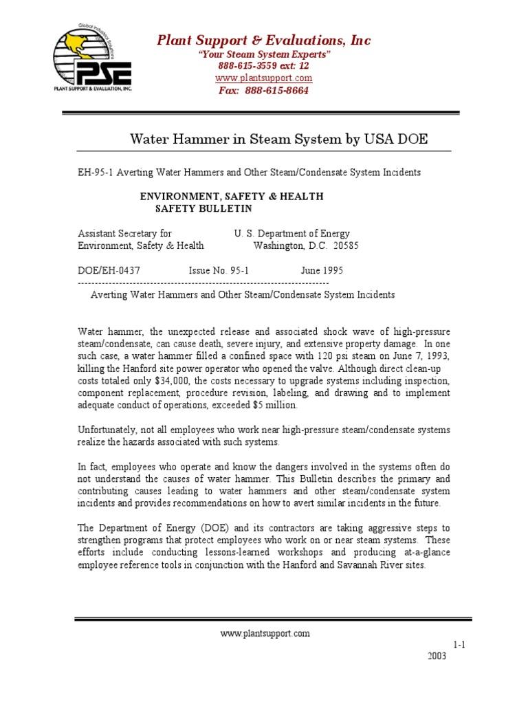 Water Hammer Discussion - USA DOE   Valve   Steam