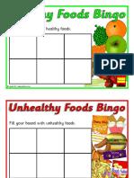 healthy and non healthy food bingo