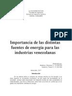 Importancia de Las Distintas Fuentes de Energía Para Las Industrias Venezolanas