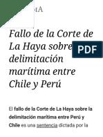 Fallo de La Corte de La Haya Sobre La Delimitación Marítima Entre Chile y Perú - Wikipedia, La Enciclopedia Libre
