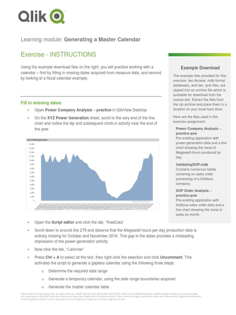 GeneratingAMasterCalendar Exercise | Trademark | Information