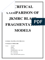 Critical Comparison of JKMRC Blast Fragmentation Models (Hal