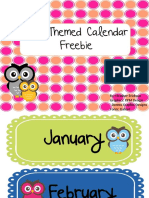 Owl the Me Calendar Freebie