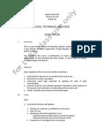 Legal Technique and Logic Course Outline