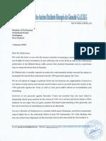 Gaerg Letter to Golriz Ghahraman