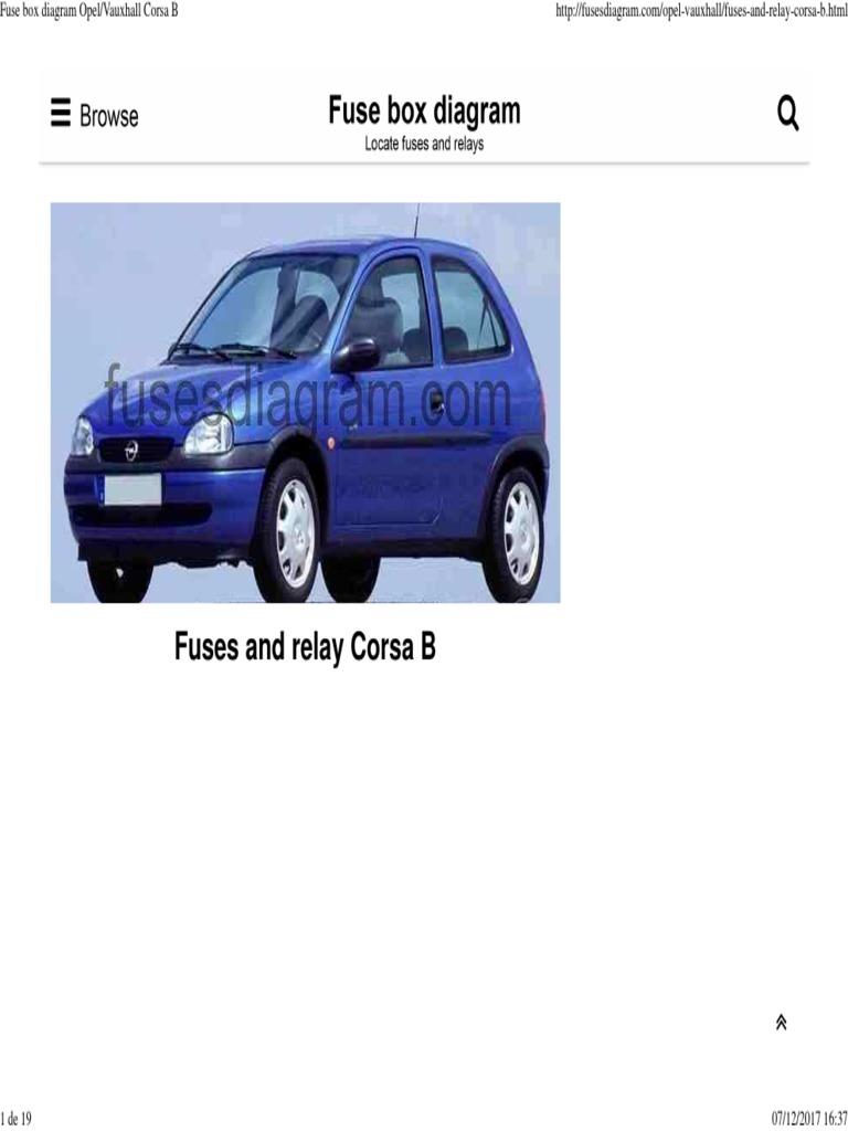 Fuse Box Diagram Opel_Vauxhall Corsa B | Faro | Opel Opel Corsa Fuse Box Manual on