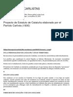 Proyecto de Estatuto de Cataluña Elaborado Por El Partido Carlista (1930)..