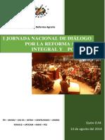 Memoria Iera Jornada de Diálogo Por La Reforma Agraria