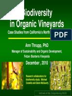 Biodiversity in Organic Vineyards