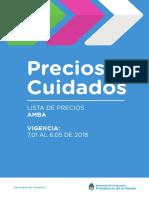Precios Cuidados AMBA - Período enero-mayo 2018