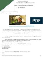 Dr. Vithal Kamat on Entrepreneurship