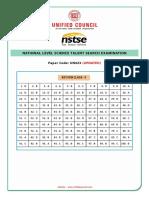 Class 5 - NSTSE 2017 UN423 Answer-Key
