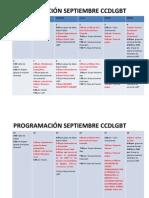 Programación septiembre Centro Comunitario Distrital LGBT
