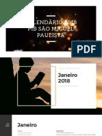 Calendário de atividades 2018