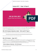 Complete SSC JE CE Analysis 2017 - Paper I & Paper II - Testbook Blog