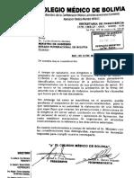 Carta del Colegio Médico de Bolivia