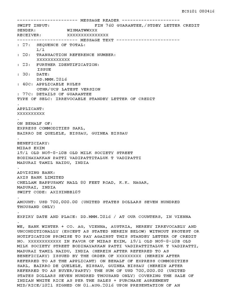 ECS101 080416 USD 700,000 00 BANK WINTER SBLC - draft