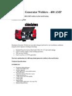 ECE Shindaiwa Generators and Welder