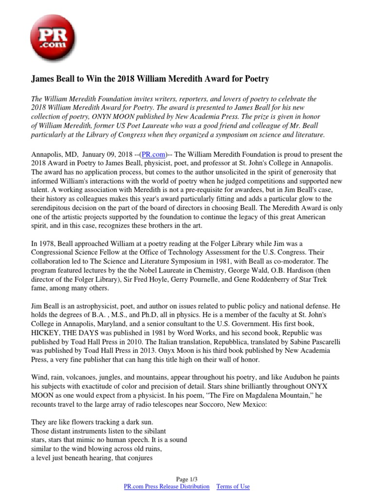 James Beall to Win the 2018 William Meredith Award for Poetry