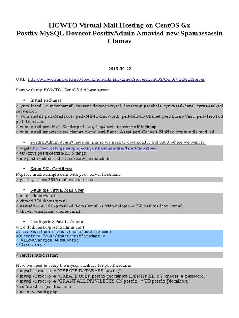 HOWTO Virtual Mail Hosting CentOS 6 - Postfix Postfixadmin Webmail