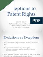 Exceptions to Patent Rights - Swaraj- IUCIPRS June 2016