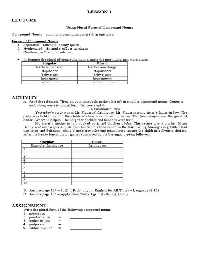 Using Plural Form of Compound Nouns – Compound Nouns Worksheet