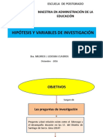 Hipótesis, Diseño de La Investigación y Matriz.