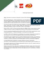 Communiqué des syndicats sur l'ouverture des commerces le 14 Janv 2018