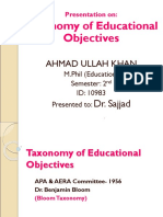 Taxonomy of Educational Objectives