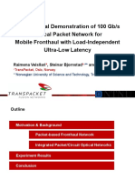 Experimental Demonstration of 100 Gb/s Optical Packet Network forMobile Fronthaul with Load-Independent Ultra-Low Latency