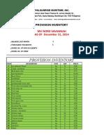 Provision Inventory January