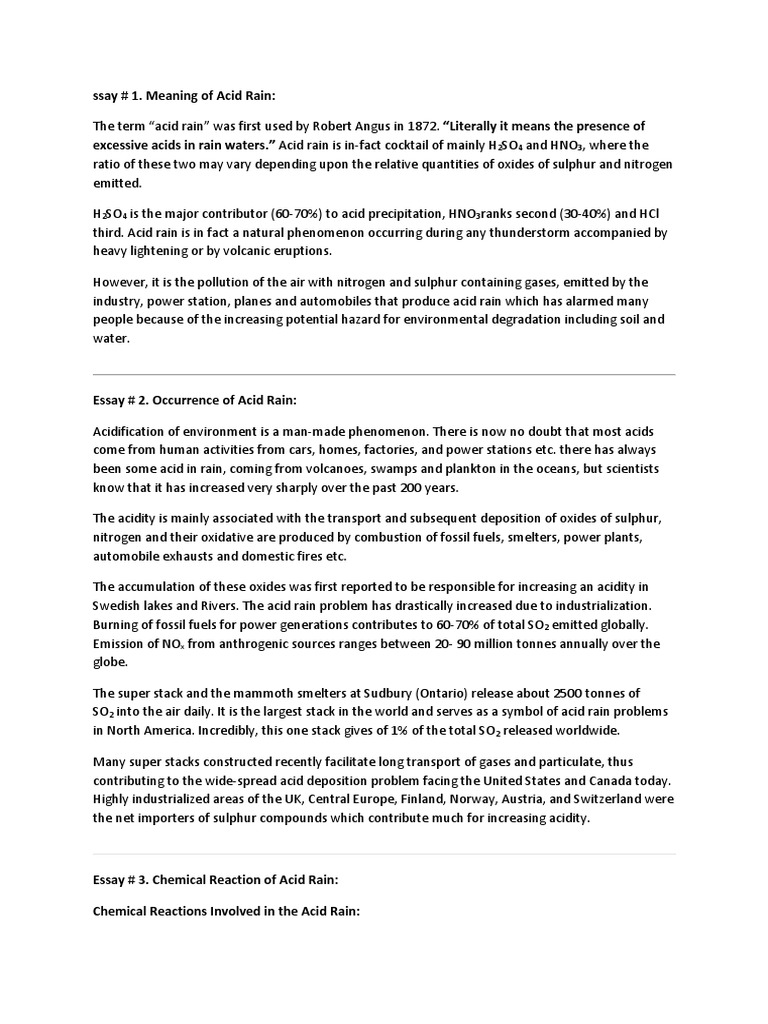 Science Technology Essay  High School Senior Essay also How To Write An Essay Thesis Acid Rain Essay Comparison Contrast Essay Example Paper