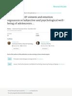 Influence of Self-esteem and Emotion Regulation In