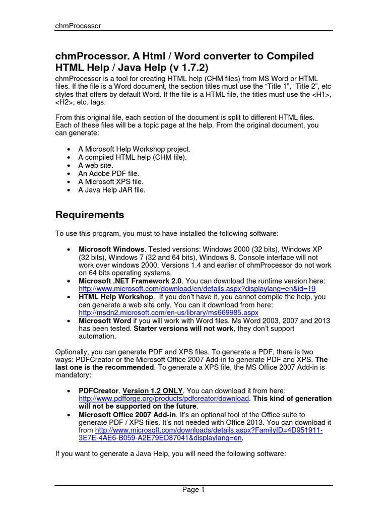 Chm Processor Documentation | Html | Html Element