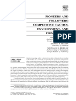 Covin, JG., Slevin, DP. and Heeley, MB. (2000) Pioneers and Followers Competitive Tactics, Environment, And Firm Growth