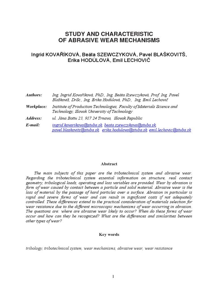 ABRASIVE WEAR MECHANISMS.pdf | Wear | Abrasive