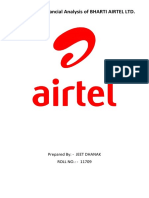 A Report on Financial Analysis on BHARTI AIRTEL LTD