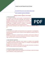 EXERCÍCIOS Falácias de Luís Rodrigues
