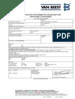 Certificado de DNV Grillete G-4161- 35 Ton