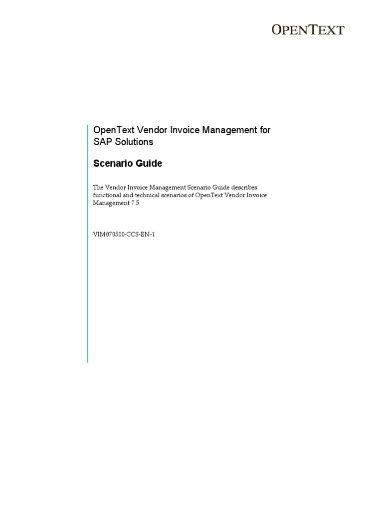 OpenText Vendor Invoice Management For SAP Solutions Scenario - Open text invoice management